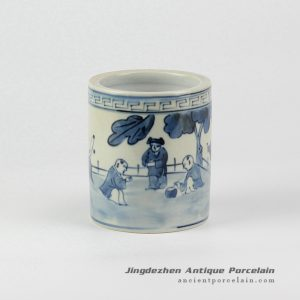 RZIQ01-D_Asian children playing pattern blue and white hand paint porch ceramic little vase