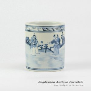 RZIQ01-E_Vanity blue and white hand paint ancient China farmer sowing pattern porcelain pen holder