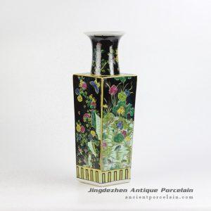 RZJH04_Black ground hand paint blue bird and plum blossom pattern ceramic square shape vase