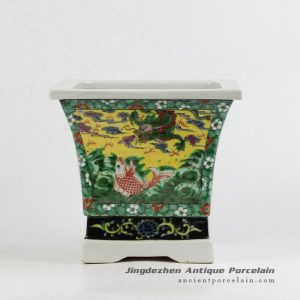 RZJH05_Chinese traditional hand paint yellow background dimetric famille rose porcelain planter pot