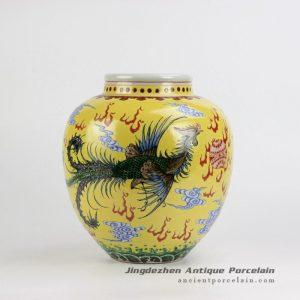RZJH06_Yellow background hand paint phoenix and dragon pattern China style ceramic jar