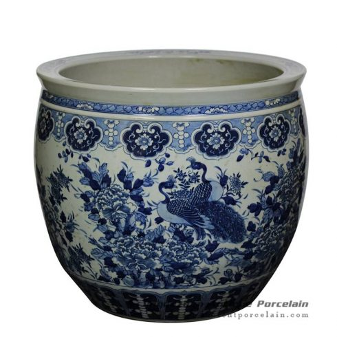 RZJM01_ Under glaze blue high temperature fired peacock peony pattern extra large porcelain planter