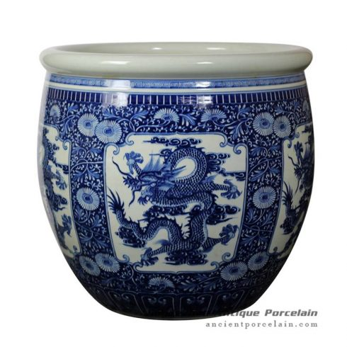 RZJN01_ Extra big ceramic planter with dragon drawing