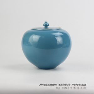 RZJR02_Apple shape cute blue solid color chinaware spice jar
