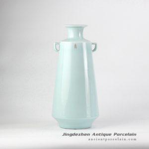RZJR03_Celadon glaze light green sealed pattern antique porcelain vase with two handles