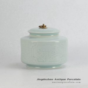 RZJZ01_Under celadon glaze carving metal ring lid small size porcelain jar