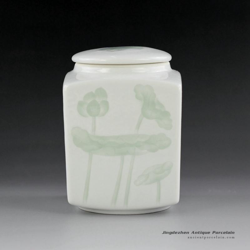 14AA03_Jingdezhen celadon hand carved tea jars tea holder brush holder