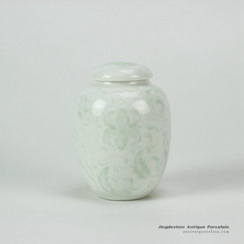 14AA04-b_Jingdezhen celadon hand carved tea jars tea holder brush holder
