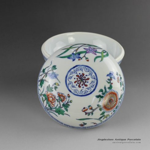 14AS102_Jingdezhen Qing dynasty reproduction Porcelain Inkpad hand painted floral design