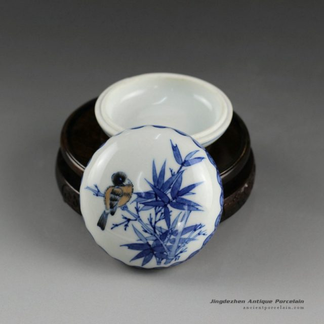 14AS110_Jingdezhen Qing dynasty reproduction Porcelain Inkpad hand painted floral bird design