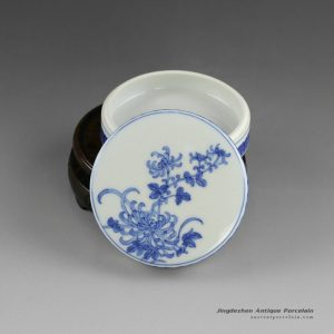 14AS126_Jingdezhen Qing dynasty reproduction Porcelain Inkpad hand painted chrysanthemum design