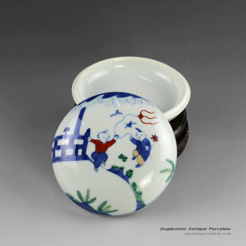 14AS128_ Qing dynasty reproduction Jingdezhen Porcelain Inkpad box hand painted children design