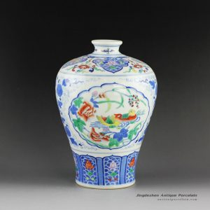 14AS137_Qing dynasty reproduction Jingdezhen Porcelain Vases hand painted bird design