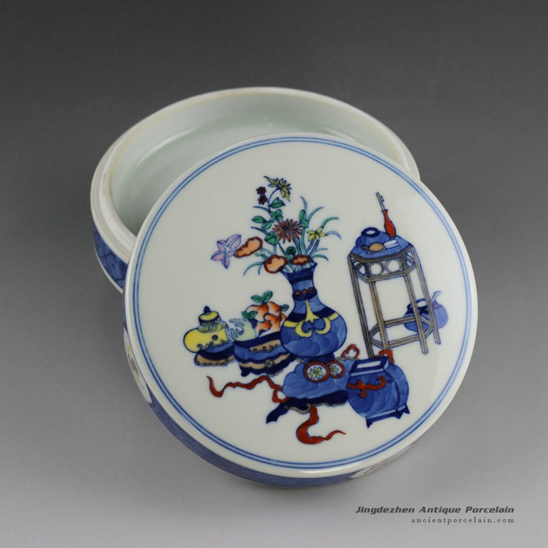 14AS139_Qing dynasty reproduction Jingdezhen Porcelain inkpad box hand painted eight treasure design