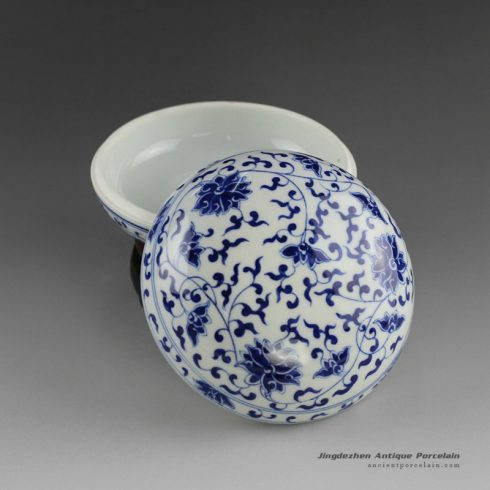 14AS46_Jingdezhen Porcelain Inkpad hand painted blue white flora design