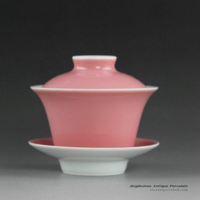 14CS110_Solid color ceramic tea cups gaiwan in yellow green red pink color etc.