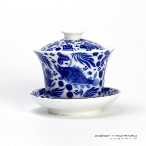 14DR117_blue and white hand painted fish design ceramic cup gaiwan