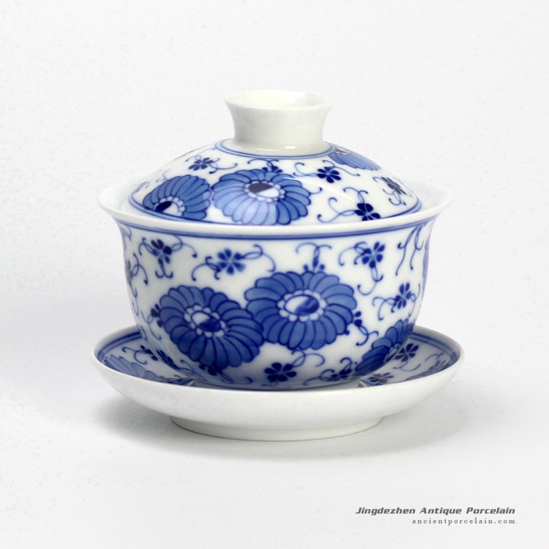 14DR118_hand painting flora pattern blue and white cup gaiwan