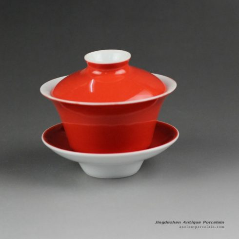 14cs27_100cc Jingdezhen hand made solid color porcelain Gaiwan