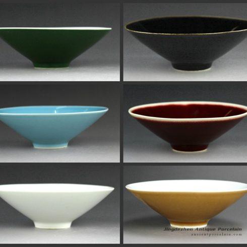 14EI58-Jingdezhen hand made solid color tea cups bowls