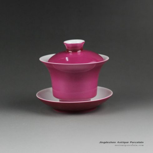 14ET07_Jingdezhen hand made solid color porcelain Gaiwan,pink tea bowl