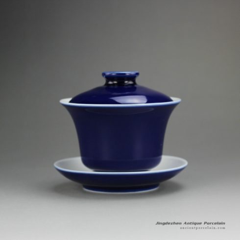 14FS23-D_hand made solid color tea bowl,Navy Blue porcelain gaiwan