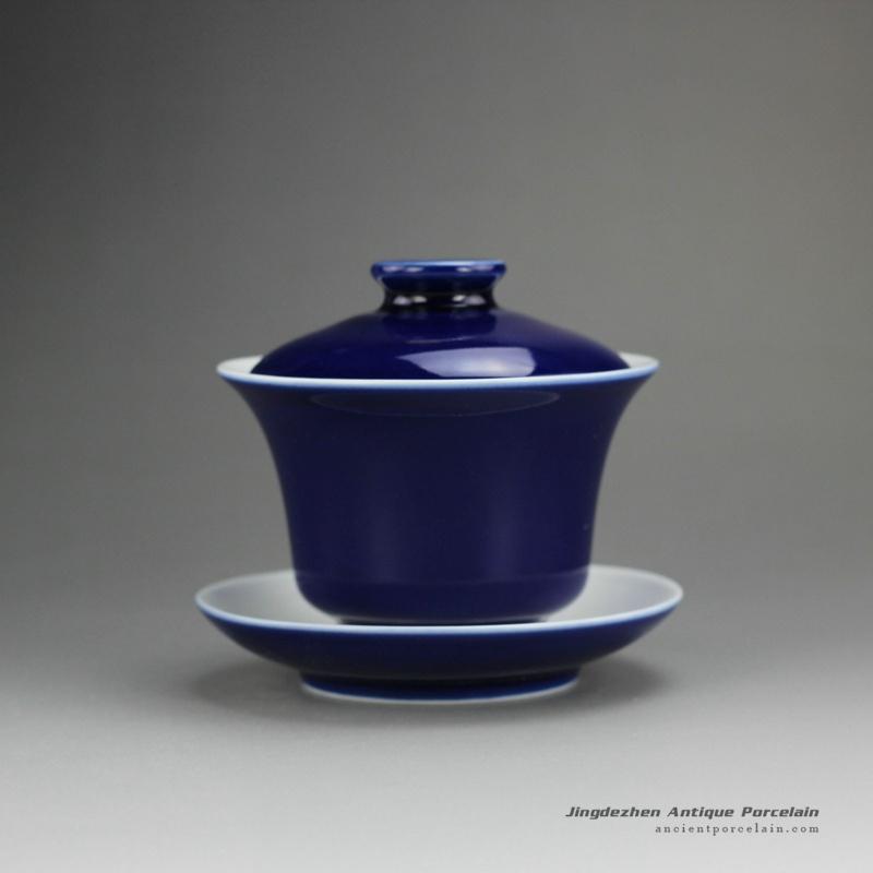 14FS23-D_hand made solid color tea bowl,Navy Blue porcelain gaiwan