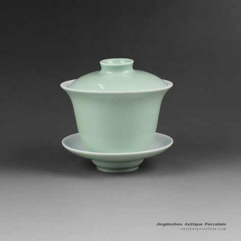 14FS23_Jingdezhen hand made solid color porcelain Gaiwan
