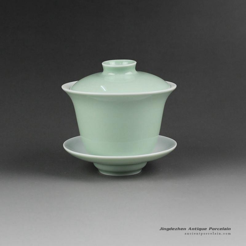 14FS23_Jingdezhen hand made solid color porcelain Gaiwan