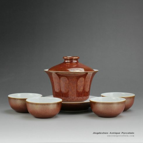 14FS24_red glaze ceramic teaware tea pot and cups made in Jingdezhen