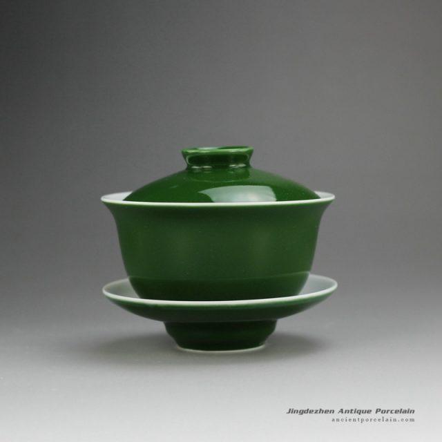 14FS39-A_green glaze ceramic teaware Gaiwan made in Jingdezhen