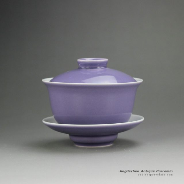purple glaze ceramic teaware Gaiwan made in Jingdezhen