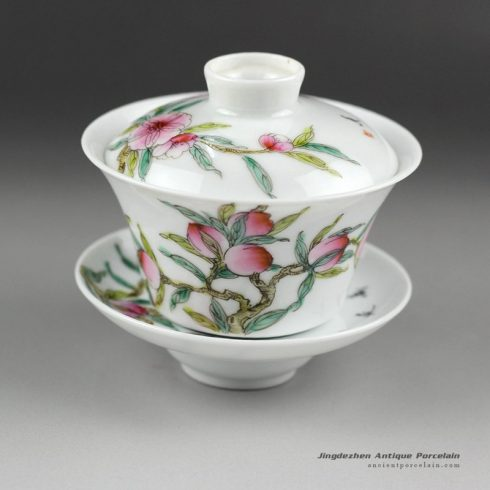 14NY15_Jingdezhen hand made famille rose painted porcelain Gaiwan, peach design