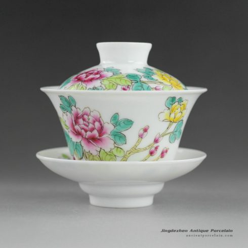14NY23_Jingdezhen Hand painted floral Porcelain Gaiwan