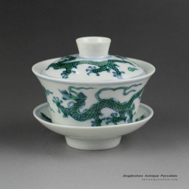 14YM07_Jingdezhen hand made porcelain Gaiwan, blue white doucai dragon design