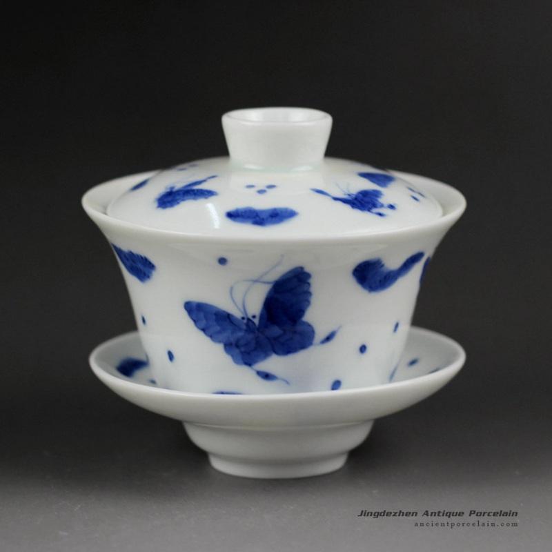 14ZDW01_Jingdezhen Gaiwan, blue white flower, butterfly design