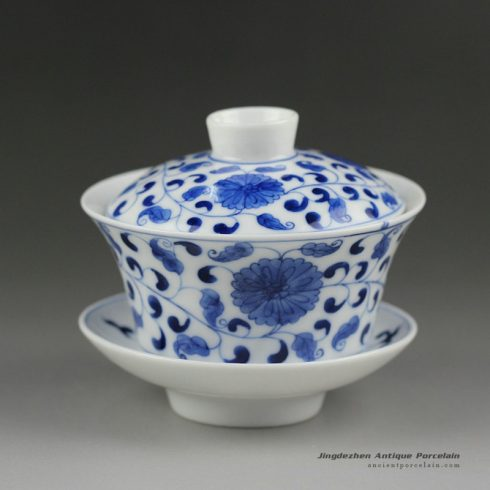 14ZDW02_Jingdezhen Gaiwan, blue white flower design