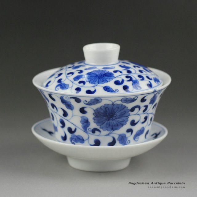 14ZDW02_Jingdezhen Gaiwan, blue white flower design