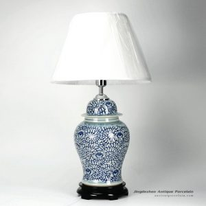DS30-WD_Blue and white interlock lotus branch pattern ceramic ginger jar lamp