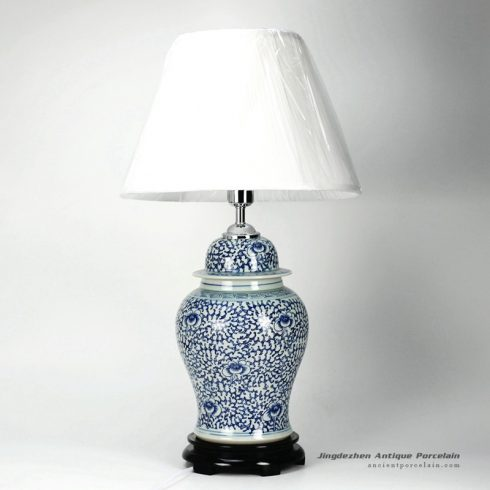 DS30-WD_Blue and white interlock lotus branch pattern ceramic ginger jar lamp