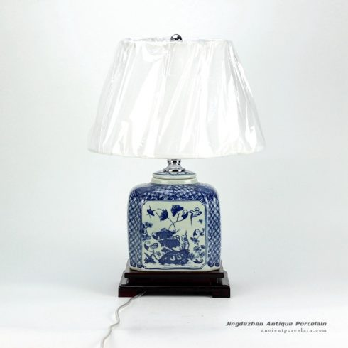 DS32-TM_New arrival oriental antique style blue white porcelain square jar lamps