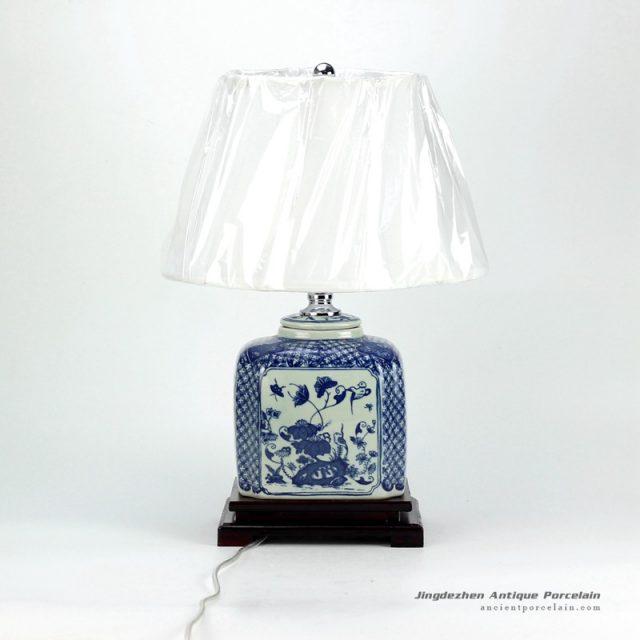 DS32-TM_New arrival oriental antique style blue white porcelain square jar lamps