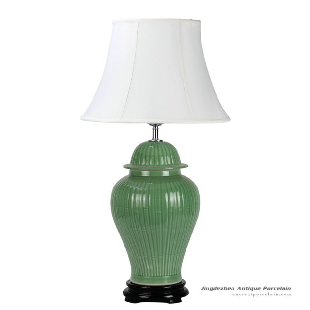 DS36-MA_Bamboo pattern engraved celadon glazed ceramic table lamp