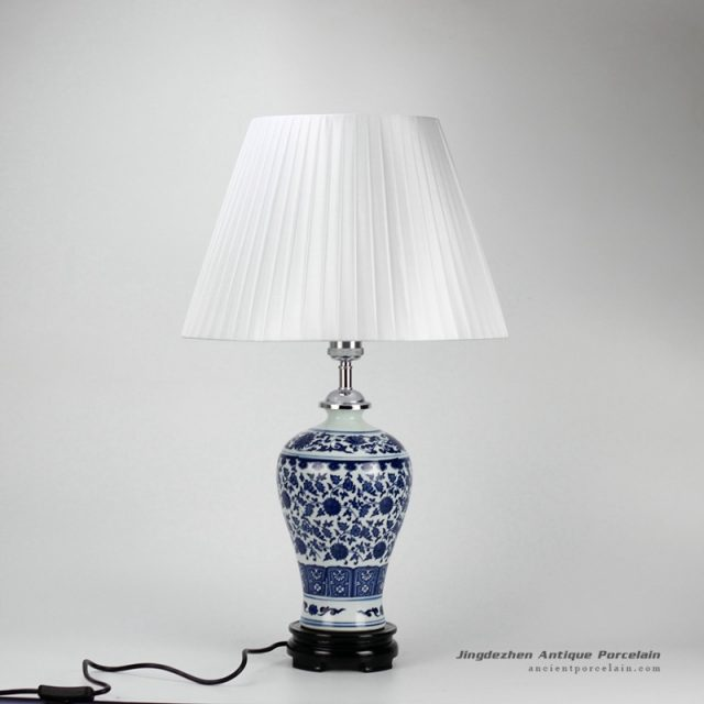 DS37-ZFU_Slender blue and white floral pattern cheap desk lamp