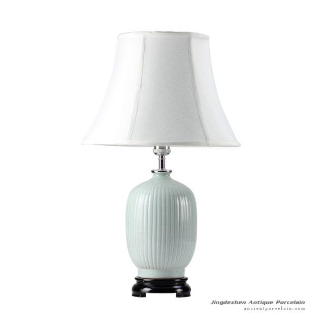 DS39-MA_Bamboo stripe design celadon glaze oriental ginger jar lamps