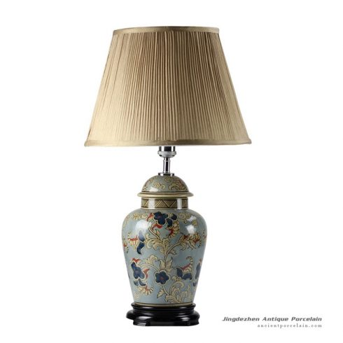 DS44-RYPU_New design floral pattern vintage ginger jar lamps