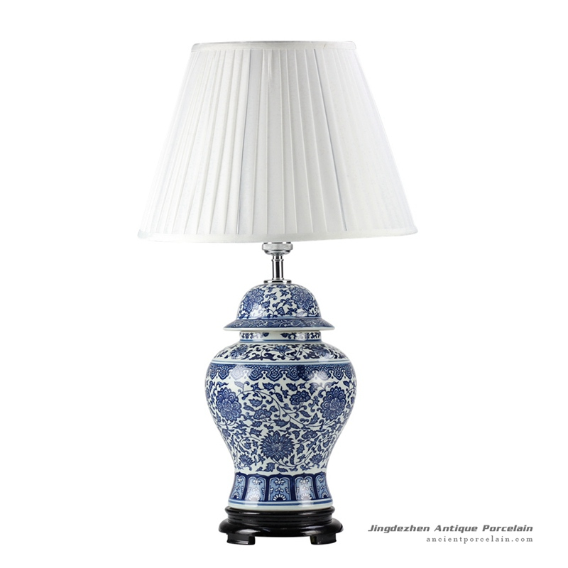 DS46-RZFU_New retail blue white floral pattern ceramic ginger jar lamp for reading
