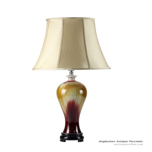 DS49-RZFJ_Flambe transmutation glaze ceramic household lamp with fabric shade