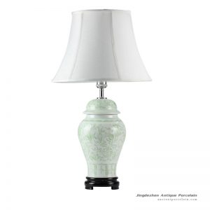 DS51-RZFX_Wholesale Celadon engraved floral pattern ceramic ginger jar lamp