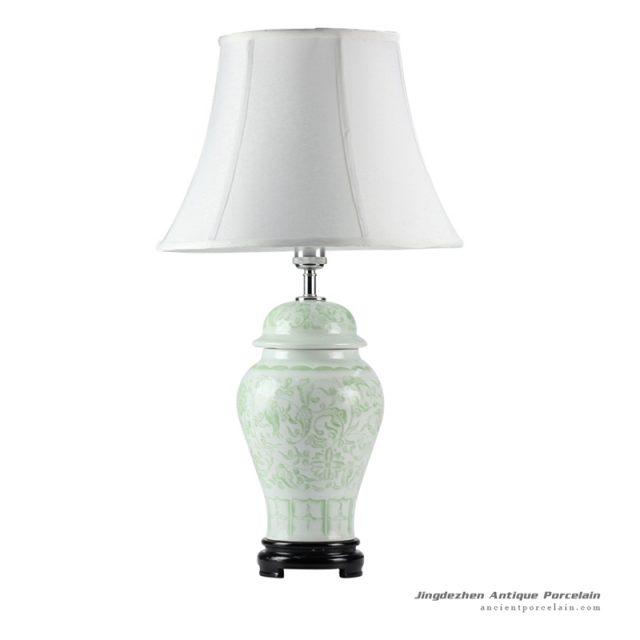 DS51-RZFX_Wholesale Celadon engraved floral pattern ceramic ginger jar lamp